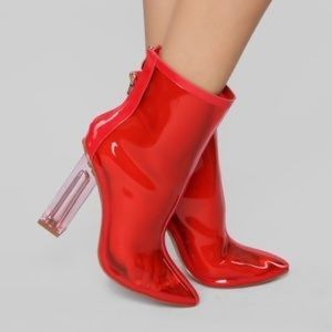 NWT! Red clear ankle boots booties